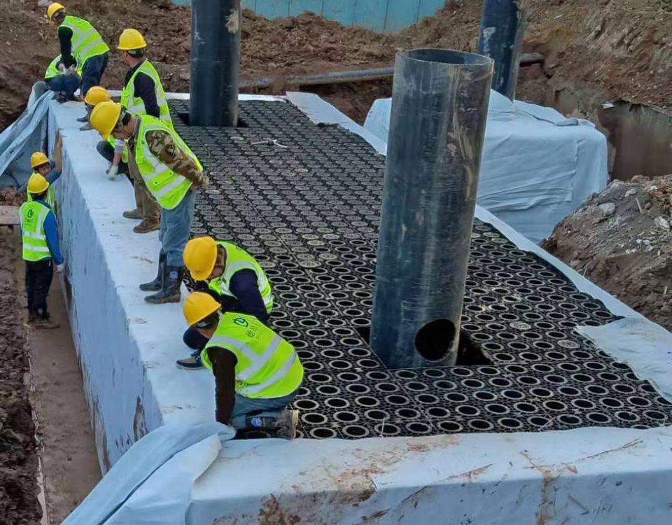 东阳禹山首座雨水回收系统施工