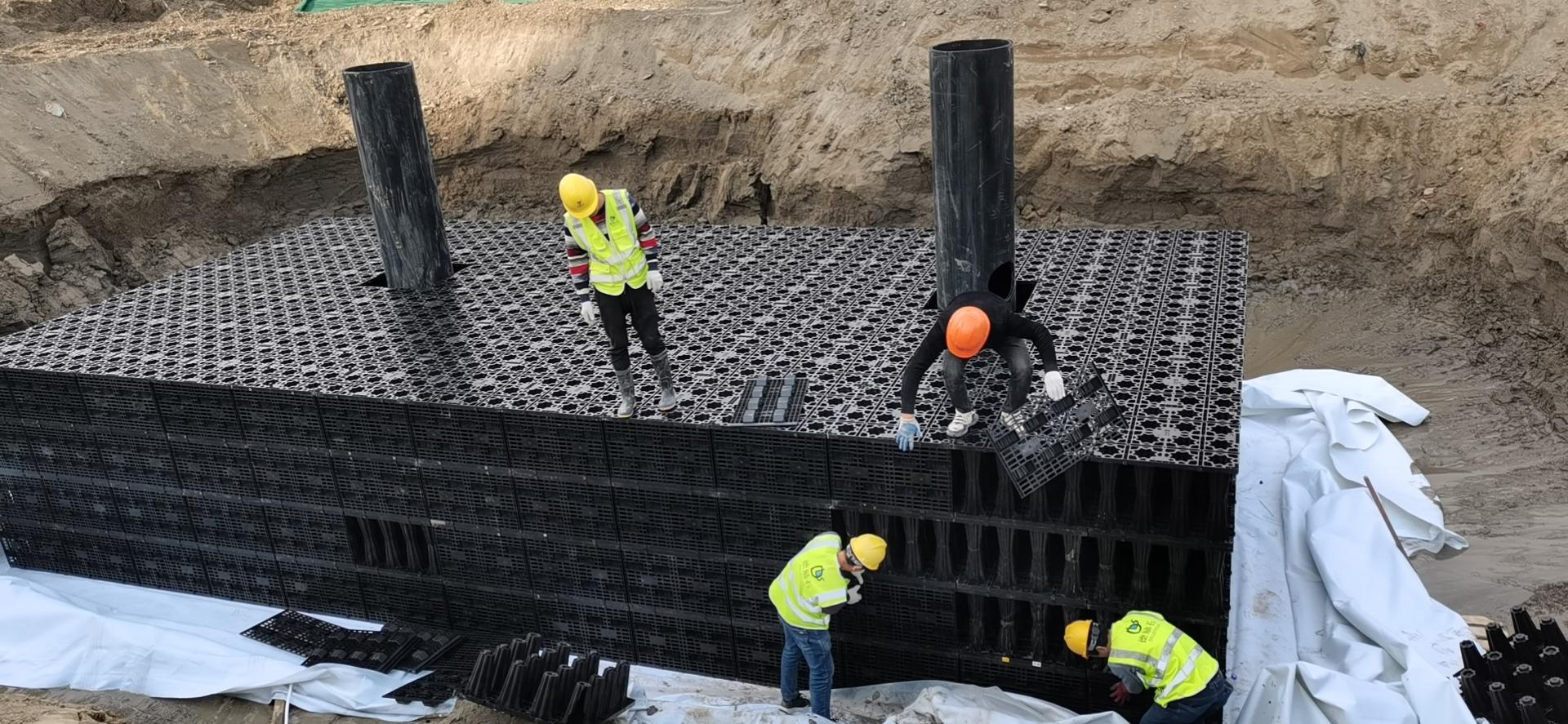 浙江德励石签约并施工杭州东部湾体育公园亚运轮滑馆雨水收集系统5